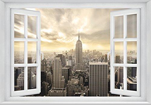 FOTOTAPETE ,,Skyline Window 2T2' 127cm x 183cm Fenster Ausblick New York USA Manhattan Tapete inklusiv Kleister
