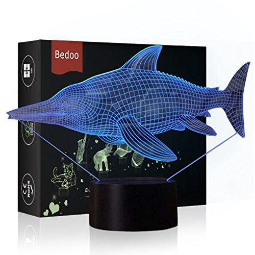 HeXie Weihnachtsgeschenk Magie Piranha Fisch Lampe 3D Illusion 7 Farben Touch-schalter USB Einsatz LED-Licht Geburtstagsgeschenk und Party Dekoration