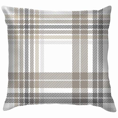 Plaid Check Gray Taupe Beauty Fashion Throw Pillow Case Cushion Cover Pillowcase Watercolor for Couch 18X18 Inch