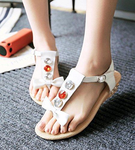 Aisun Damen Schleifen Strass Zehentrenner T-Spange Knöchelriemchen Keilabsatz Sandalen Weiß