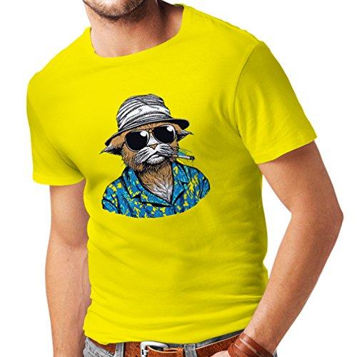 Filme Jahre Kostüme 80er (N4332 Männer T-Shirt Vintage Schnüffler (X-Large Gelb)