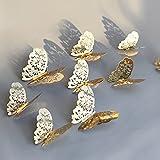Berrose-12 Stücke 3D Hohlwandaufkleber Schmetterling Kühlschrank für Heimtextilien wandtattoos Wandtattoo Wandaufkleber Sticker Wanddeko Schlafzimmer Wohnzimmer