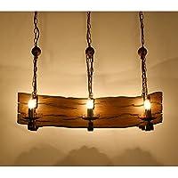 BJVB Lampadari retro ferro antico bara di legno lampada della candela Soggiorno negozio di (Acciaio Per Scale Ferroviaria)