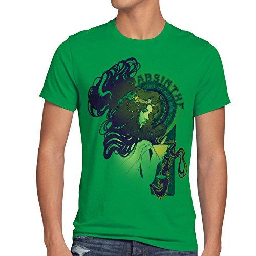 style3 Absinthe T-Shirt Herren absinth alkohol bar party grüne stunde löffel, Größe:L