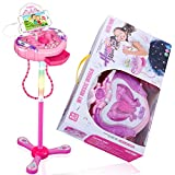 Anpro Kids Karaoke Machine, Portable Microphone Musical Toys with Adjustable Stand & Flashing