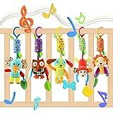 Lanero Baby Spielzeug 5 Packs Kinderwagen Spielzeug Kinderbett Anhänge Cartoon Tier hängen Rassel Kleinkind Spielzeug weiche Flock Stoff mit Klingel Glocke