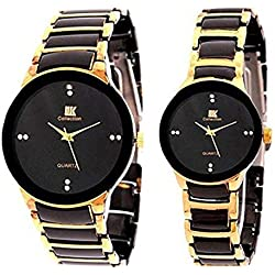 IIK Ceramic Strap Analog Round Dial Couple His & Hers Wrist Watch Combo Gift