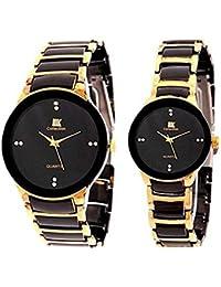 IIK correa de cerámica analógica ronda dial pareja His & Hers reloj de pulsera combo regalo