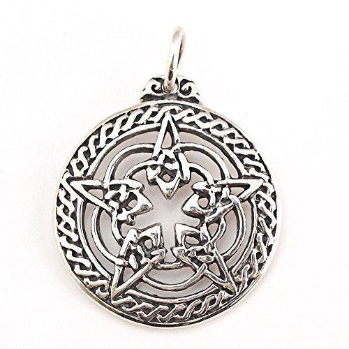 Dije Pentagrama Wicca, Talisman de Protección Colgante en Plata Ester