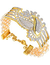 Tistabene Retails Floral American Diamond Gold Plated Designer Stylish Party Wear Link Bracelet For Girls / Women...