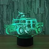 3D LED Nachtlicht Lampe Battlefield Car Optical Illusion Touch 7 Farbwechsel Mit Acryl Flat, ABS Kunststoff Basis, USB-Ladegerät Tisch Schreibtisch Schlafzimmer Dekoration Licht