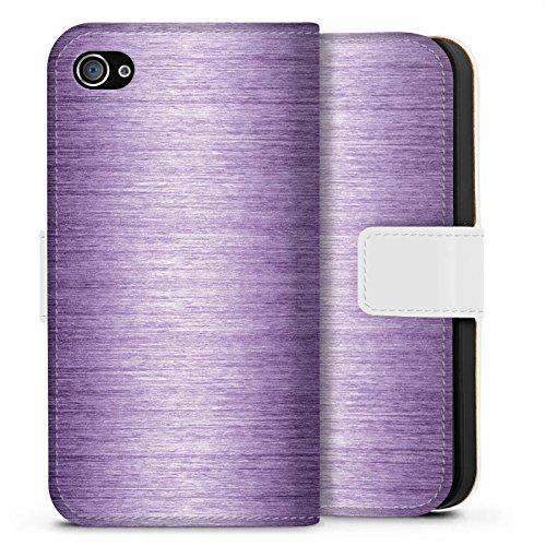 Apple iPhone X Silikon Hülle Case Schutzhülle Metal Look Lavender Metall Lila Sideflip Tasche weiß