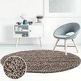 Shaggy-Teppich, Flauschiger Hochflor Wohn-Teppich, Einfarbig/Uni in Mocca für Wohnzimmer, Schlafzimmmer, Kinderzimmer, Esszimmer, Größe: 80 x 80 cm Rund