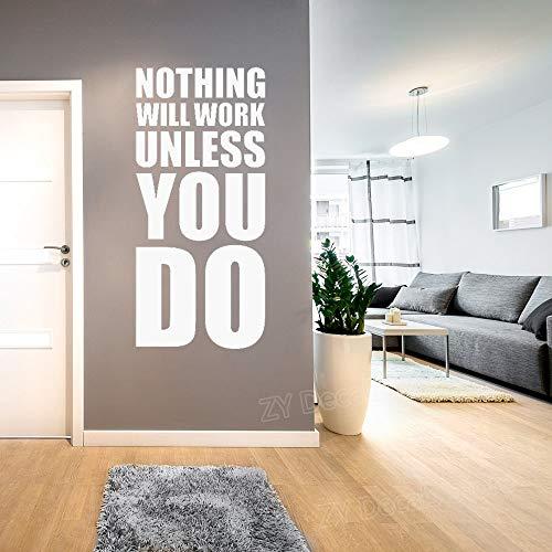 wlwhaoo Motivierende Zitate Wall Decal Workout Fitness Gym Vinyl Wandaufkleber Home Interior Decor Familienregeln Sport Quote Decals weiß 42X90 cm