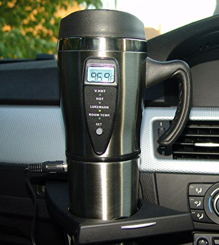 Price comparison product image SMART MUG 12 Volt Stainless steel Travel Mug with Built in Heater