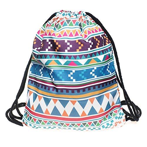 Dressandstyle, sacca con spalline, borsa da palestra e festival, zaino, aztec