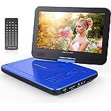 "Reproductor de DVD Portátil de 10.5"" con Pantalla Giratoria, 3 Horas recargable incorporada de la batería, Compatible con Tarjetas SD y USB - Azul"