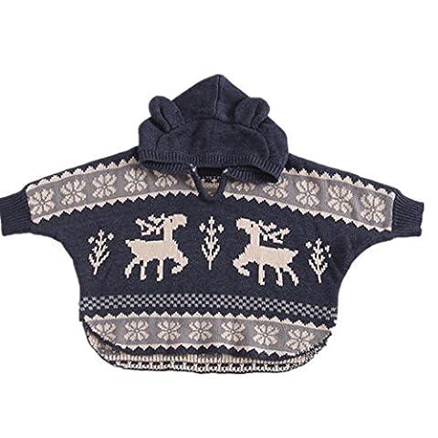 Longra Baby Jungen Mädchen Strickpullover Sweater Baby gestrickter Sweatjacke mit Kapuze Baby Weihnachtsrotwild Hirsch poncho Kapuzenmantel Outwear Mantel (70CM 6Monate, (Hood 26 Bogen)