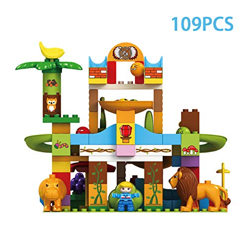 s Large Particles Assembled Jungle Animal Slide Blocks-Early Education Puzzle DIY Ball Track BBlocks Toys ()