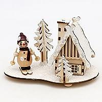 Precioso Madera Escena, incienso hogar y figura de muñeco de nieve, verschneit, aprox. 14cm