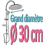 Barre de douche ronde Colonne de douche ronde Douche de tête ronde Grand diamètre 30 cm Kit de douche Kit Colonne de douche