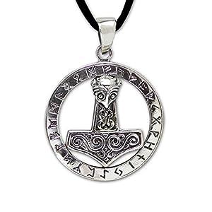 DarkDragon Anhänger Thors Hammer Runen 925er Silber Keltischer Schmuck mit Lederhalsband Schmucksäckchen und Karte – Schutzamulett – 432