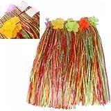 Gleader Gallina Hawaiian Hula Grass Skirt Con Flores Fancy Dress Party Partes Noche Beach