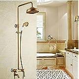 Gowe estilo vintage grifo de la ducha set grifo de latón envejecido 8pulgadas cabezal de ducha w/cerámica grifo de ducha de mano