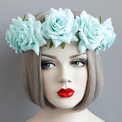 GCF® Girlande Blumen Kranz Frau Mädchen Blumen Krone Tiaras Stirnband Rose Blume Braut Hairbands Party Haarschmuck , fd-87 mint green (Autositz Baby Doll)