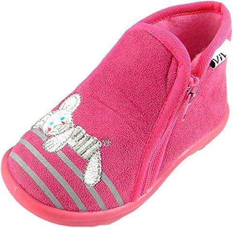 Chaussons bottillons zip Garçon/Fille Chaussons Montants fourrés - Semelle antidérapante - Broderie fantaisie sur le dessus du pied représentant une Jolie souris - Pink 27