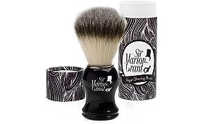Sir Marlon Grant Blaireau vegan imitation poils de blaireaux silvertip de qualité (100% synthétique) et manche classique couleur ébène – Brosse de rasage pour application parfaite de savon à barbe