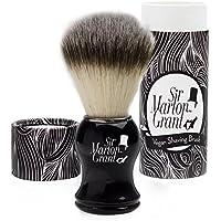 Sir Marlon Grant Brocha de Afeitar Vegan–PREMIUM imitación pelo de tejón en aspecto de madera ébano–100% Brocha de Afeitar (vegana