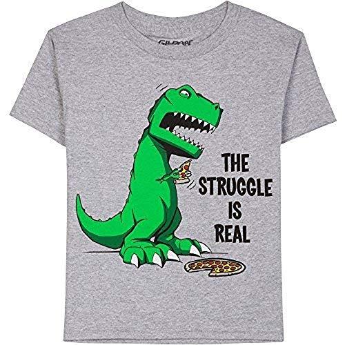 The Struggle Is Real Boys Graphic Dinosaur Pizza T-shirt, Gray, XXL 18 -