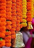#8: Satyam Kraft RE-USABLE ARTIFICIAL MARIGOLD FLUFFY FLOWERS GARLANDS(genda phool toran) FOR FOR Diwali Decoration/Home Decor/diwali collection/wedding decoration - PACK OF 6 (Orange) / diwali decoration items for home/ diwali decoration of home / artificial garlands / artificial flower garland for decoration