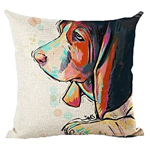 Moyun Cute Pet Dogs Pattern Cotton Linen Decoración para el hogar Funda de Almohada Throw Pillow (Basset Hound) 14