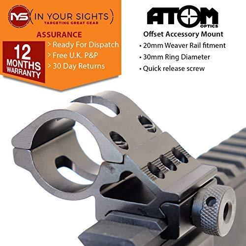 Atom Optics 30mm Offset Antorcha Soporte para Escopetas, Rifle, Airsoft / 20mm Tejedor Offset Montaje