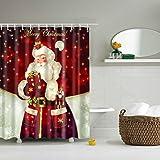 THEE Duschvorhang Weihnachten Badevorhang Wasserdicht Badezimmer Vorhänge Dekoration,Weihnachtsmann