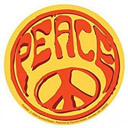 Paz - Psychedelic Hippie Logo Pegatina Vinilo Autoadhesivo (9 x 9cm)