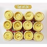 TiedRibbons® Matki Candles | Diwali Candles Set | Tealight Decorate For Diwali | Diya For Puja | Diwali Home Decoration Light (Set Of 24, Golden)
