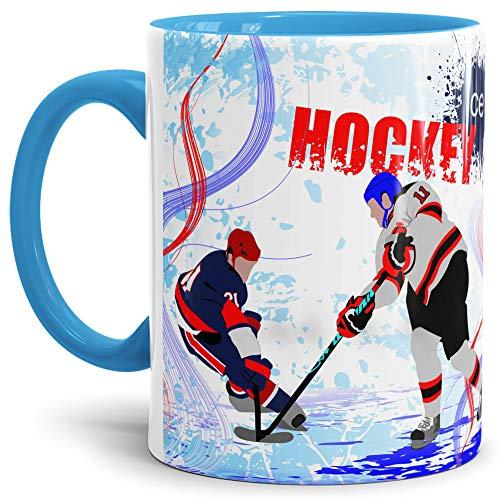 Tassendruck Eishockey-Tasse Wintersport - Farbtasse Innen und Henkel Blau/Kaffeetasse / Mug/Cup -...