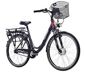 Telefunken E-Bike Damen, Elektrofahrrad 250W und 10Ah, 36V Lithium-Ionen-Akku, Shimano Nabenschaltung - Pedelec Citybike leicht Fahrradkorb, Alu in Grau, 7 Gang, Reifengröße: 28 Zoll