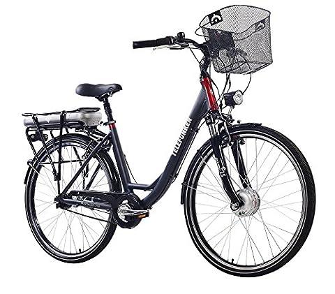 Telefunken E-Bike Damen, Elektrofahrrad Alu in grau, 7 Gang Shimano Nabenschaltung - Pedelec Citybike leicht mit Fahrradkorb, 250W und 10Ah/36V Lithium-Ionen-Akku, Reifengröße: 28 Zoll