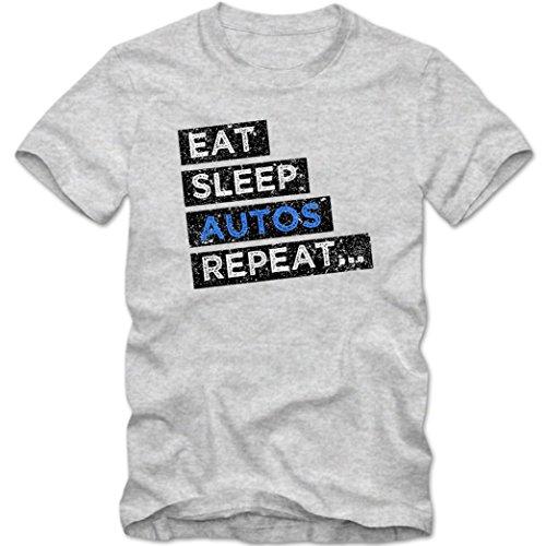 Hobby Autos #1 T-Shirt | Auto-Shirt | Eat Sleep Repeat | Leidenschaft | Herren | Shirt © Shirt Happenz Graumeliert (Grey Melange L190)