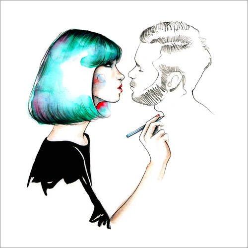 Posterlounge Holzbild 13 x 13 cm: Kiss Me von Ina Stanimirova - Nägel Kiss Me