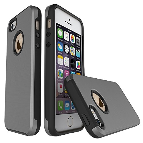 EKINHUI Case Cover Für Apple IPhone 5 5s & SE Fall, gebürstet Metallic Finish Back Cover Dual Layer 2 In 1 Hybrid Hard PC Soft TPU Stoßdämpfer Stoßfeste Gehäuseabdeckung ( Color : Rose Gold ) Gray