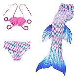 3pcs Bikini Conjuntos Traje de Bano,Das Beste Kids Disfraz de Sirena Cosplay Traje de Baño Sirena