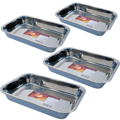 4pc-baking-tray-stainless-steel-deep-roasting-oven-pan-grill-bake-cook-dish-new