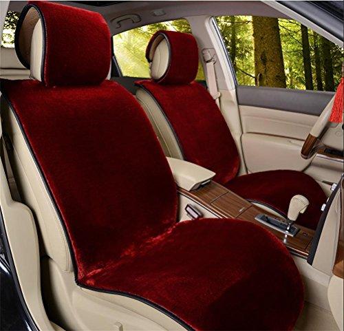 RUIRUI Schaffell Sitzbezüge Soft Plüsch Wolle Sitz Matte Anti-Rutsch-Abdeckung für die meisten Auto, LKW, SUV oder Van , red