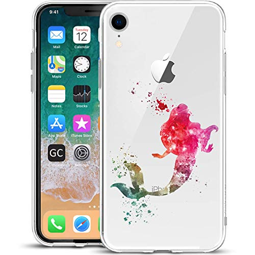 Girlscases® | iPhone XR Hülle | Im Meerjungfrau Motiv Muster | in bunt | Fashion Case Transparente Schutzhülle aus Silikon
