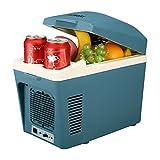 SUAOKI Elektrische Kühlbox mit V12 AC/DC Anschluss 7 Liter für Auto PKW / LKW und Steckdose, Kühlen und Heiz-Funktion, Blau, tragbarer Mini-Kühlschrank